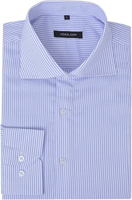 vidaXL Camisa de vestir de hombre a rayas blanca y azul claro M: Amazon.es: Ropa y accesorios