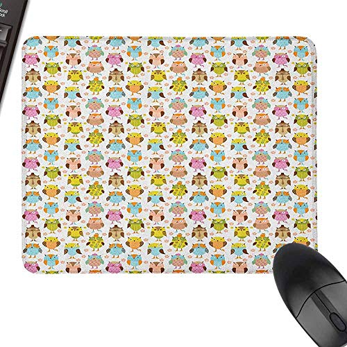 Computer Mouse Pad Owls Artistic Floral Bird Figures Daisies Oranges Sunglasses Stripes Swirls Hearts Colorful for Office, Gaming, Learning,9.8