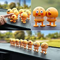 RUDRAYA Pack of 6 Emoji/Smiley Spring Doll,Cute Emoji for Car Dashboard Bounce Toys,Emoticon Figure Funny Smiley Face Springs Car Decoration for Car Interior Dashboard Expression BobbleHead