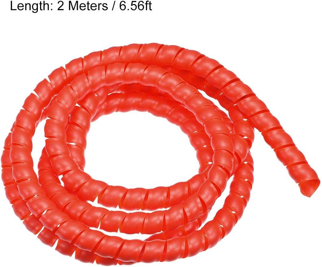 sourcing map Flexible Espiral Tubo Envoltura Cable Gesti/ón Manga 14mm X 17mm Computadora Cable Gesti/ón Cable 2 Metros Longitud Rojo