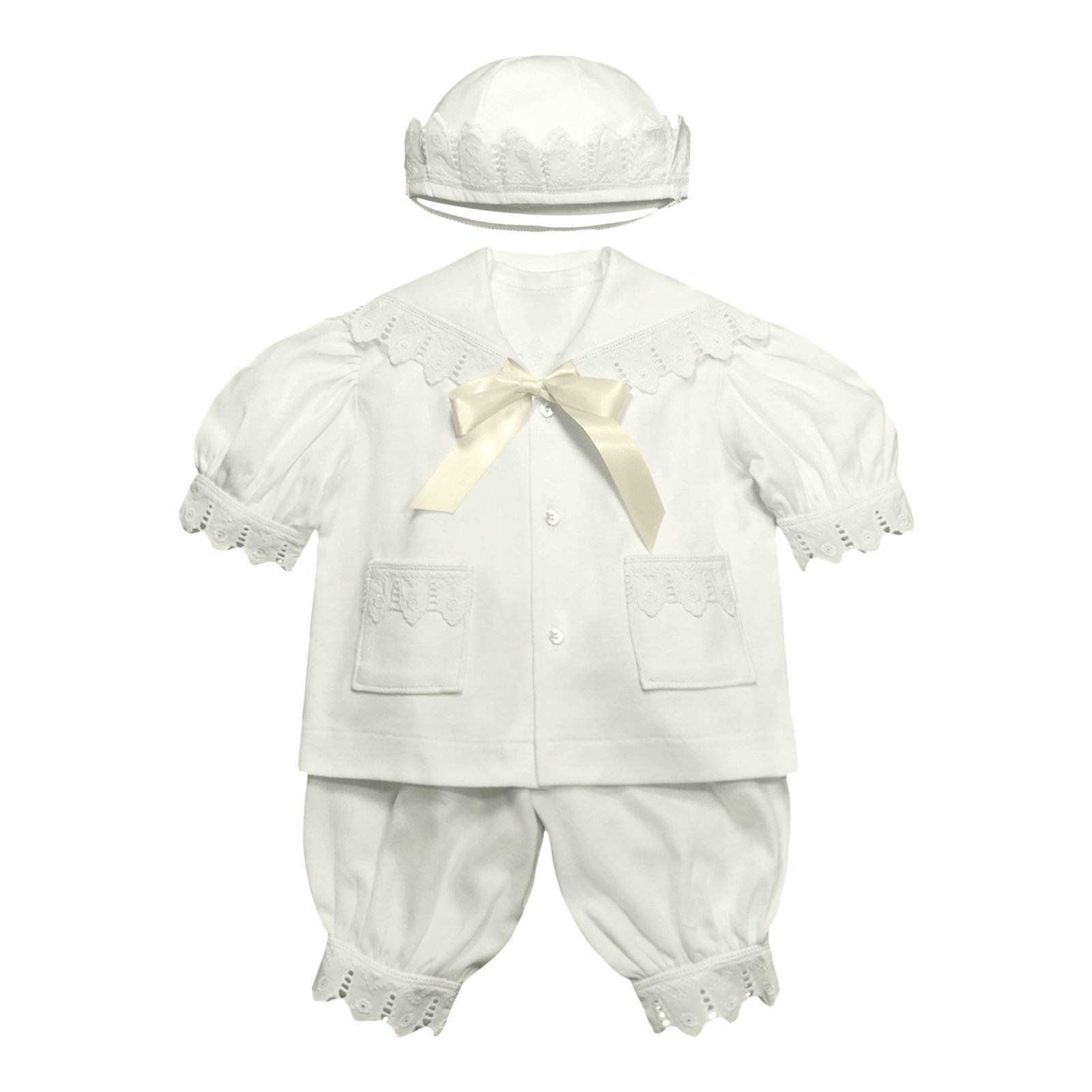 Victorian Organics Baby Boy Sailor Set 4 Piece Organic Cotton Knit and Eyelet Lace Trim Jacket Hat Bodysuit and Pantaloons (NB 0-3 months)
