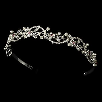 Amazon.com   Jewel Pink Vine White Wedding Bridal Headband   Fashion  Headbands   Beauty 9742ac7a719