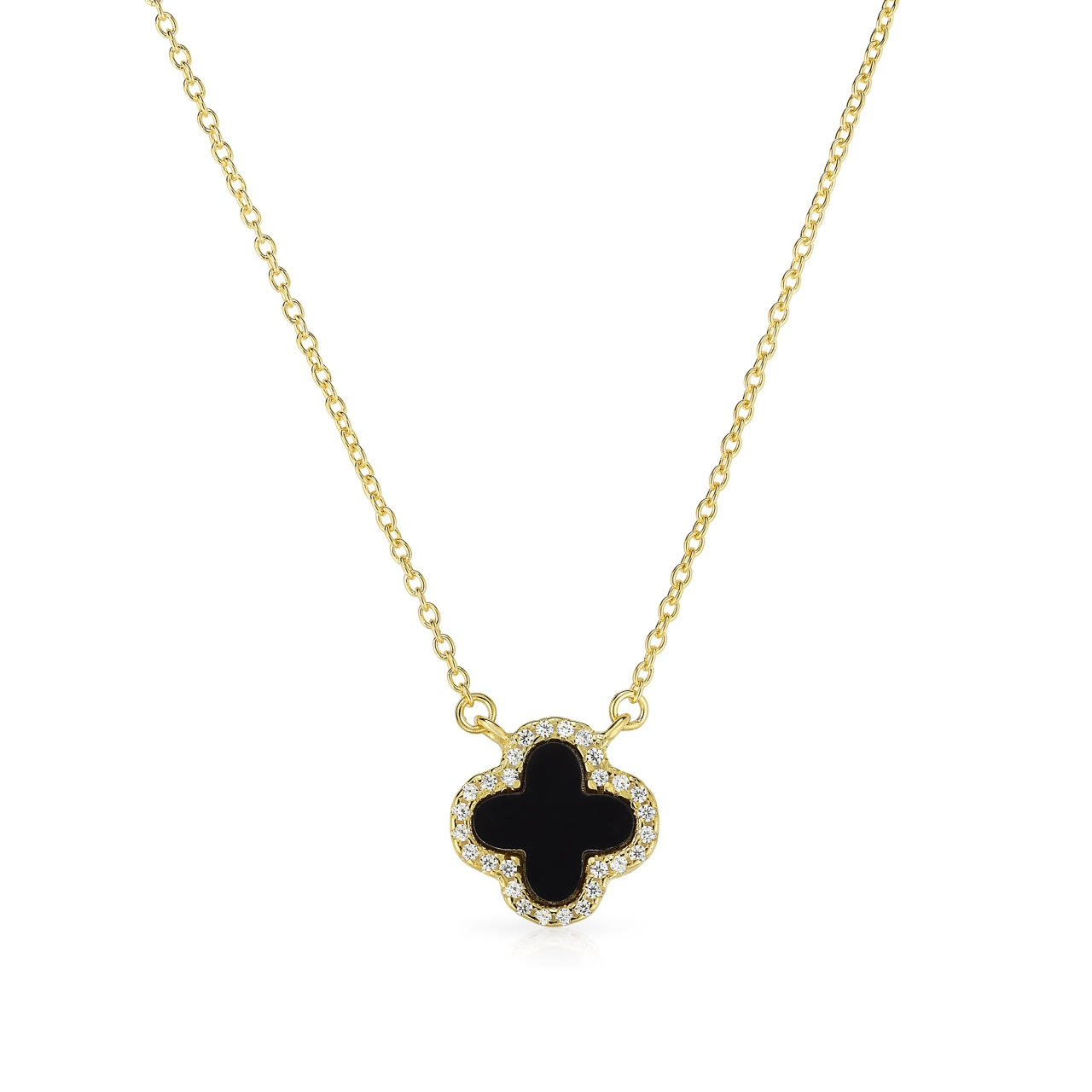 US/_JWE/_B07875QH28 Unique Royal Jewelry 925 Solid Sterling Silver Black Onyx and Cubic Zirconia Small Four Leaf Clover Necklace with Adjustable Length