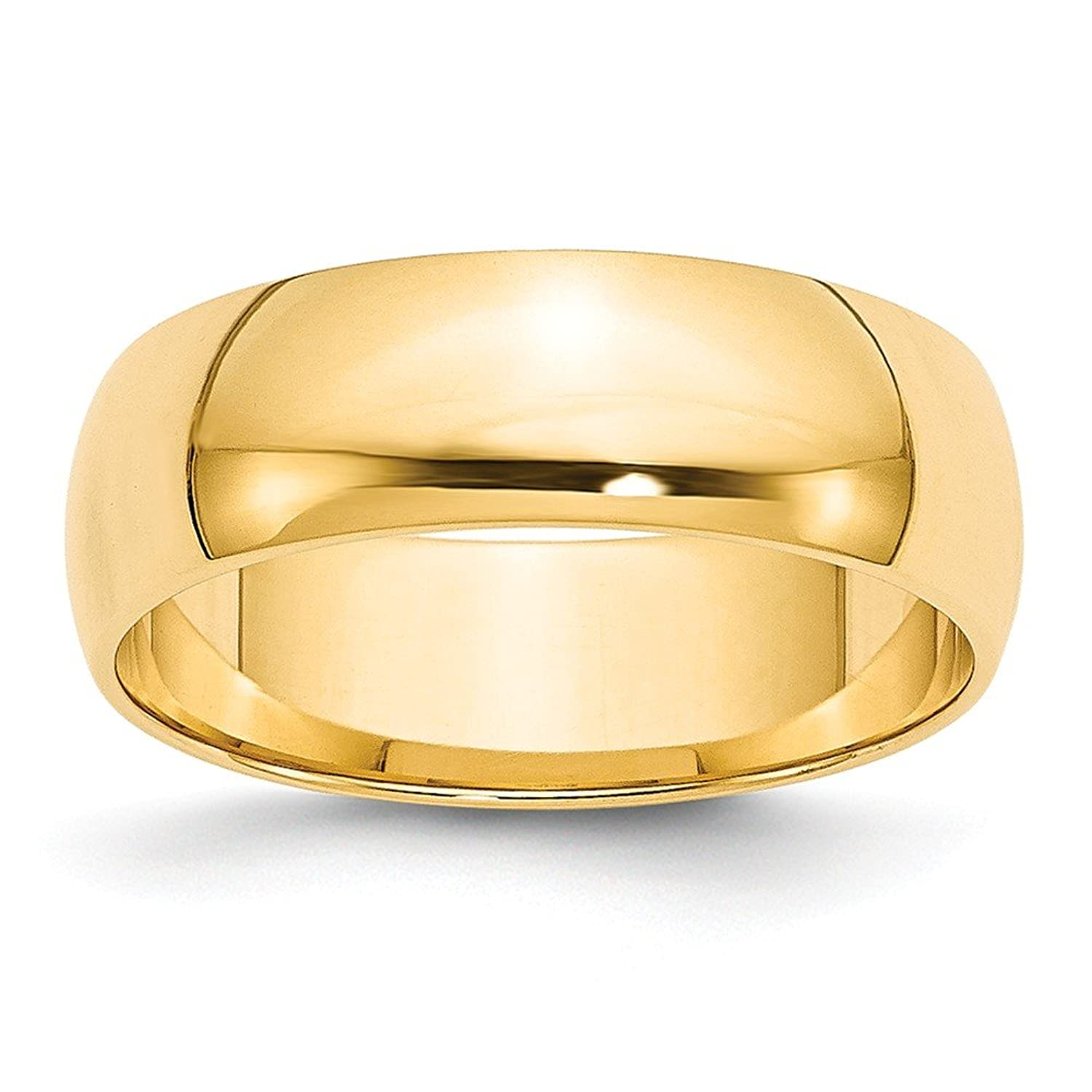 14k Yellow Gold 6mm LTW Half Round Mens Womens Wedding Anniversary Band Size 7