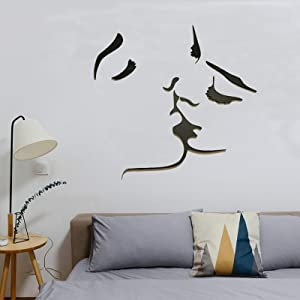 3D Kiss Wall Stickers Murals Acrylic DIY Couple Sweet Kiss Wall Decals for Living Room Bedroom Sofa Backdrop Tv Wall Background Wall Decor Home Decorations