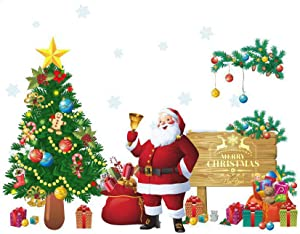 Santa Claus Christmas Tree Wall Decals Christmas New Year Peel and DIY Stickers Decoration for Home Office Nursery Decor