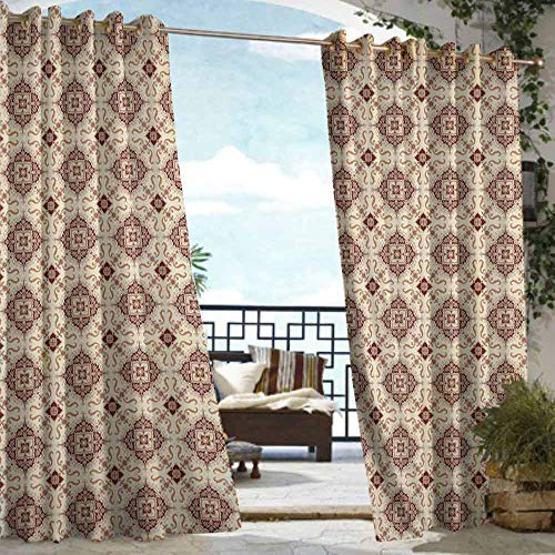 DILITECK Curtains for Bedroom Geometric Oriental Inspirations in Symmetrical Floral Arrangement Vintage Darkening Thermal Insulated Blackout W108 xL84 Redwood Cream Pale Orange