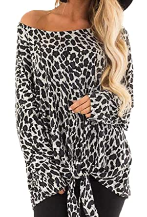 3fbea404111 X-Future Women Fashion Tie Front Leopard Print One Shoulder Blouse Top  Shirts Gray XS