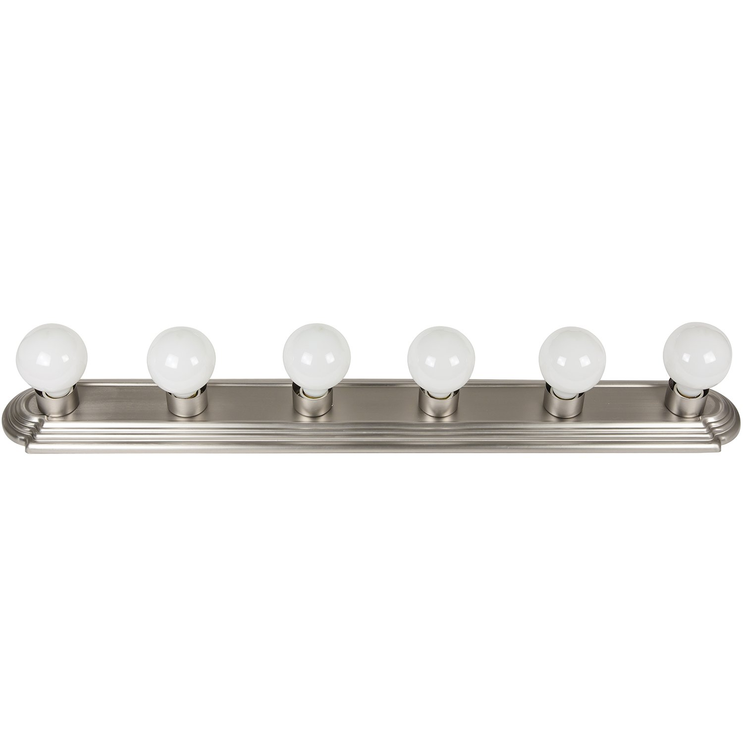 Sunlite 45200-SU Bathroom Vanity Light Fixture 36'' Globe Style Wall Fixture 6 Lights Brushed Nickel Finish