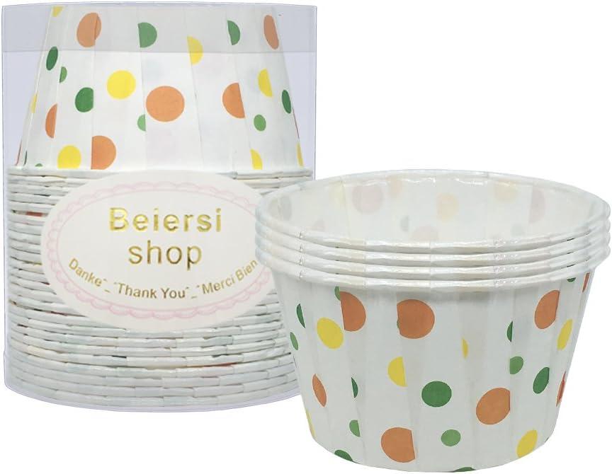 Beiersi 24Pcs Caissettes A Cupcake Papier Muffins Moule G/âteau P/âtisserie D/écoration Couleur Point donde-Blanc 24Pcs, Style 1
