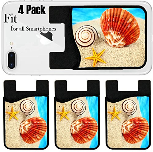 Noble Scallop (Liili Phone Card holder sleeve/wallet for iPhone Samsung Android and all smartphones with removable microfiber screen cleaner Silicone card Caddy(4 Pack) IMAGE ID: 12831264 Big scallop little seastar)