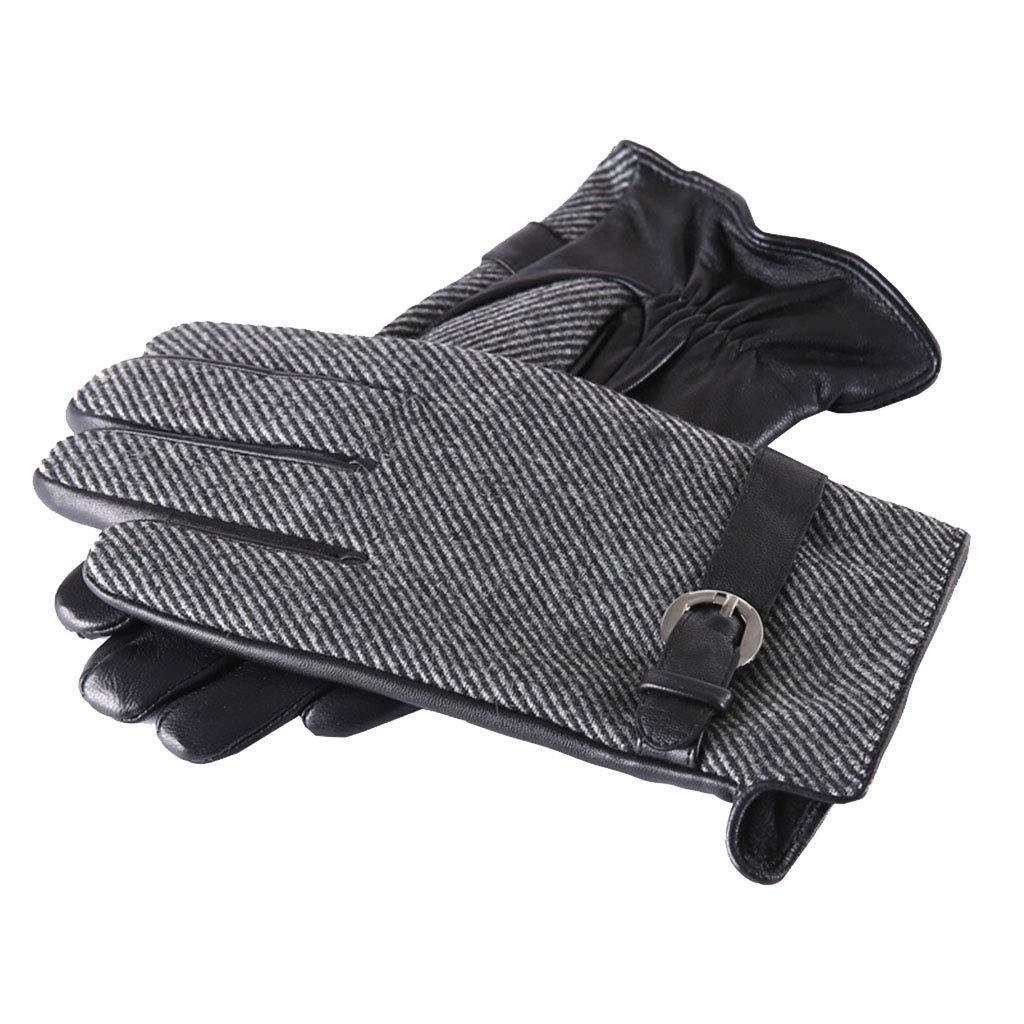DSADDSD Herbst und Winter warme Handschuhe der Männer, Touch Screen Fahren, die Winddichte Lederhandschuhe Fahren