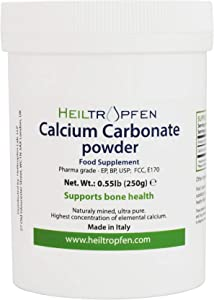 Calcium Carbonate Powder, Pharmaceutical Grade, 0.55 lb - 250g, Highest Purity Limestone, Heiltropfen®