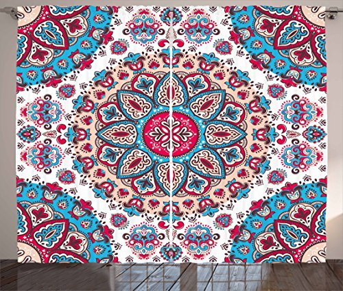 Ambesonne Ethnic Curtains, Henna Style Floral Circles Paisley Retro Kaleidoscope Image, Living Room Bedroom Window Drapes 2 Panel Set, 108 W X 90 L Inches, Turquoise Hot Pink and Light (Kaleidoscope Panel)