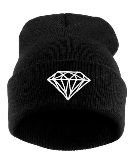 52ad96262 Unisex Fashion Winter Beanie Kinted Diamond Hat Women Hip-Hop Ski ...