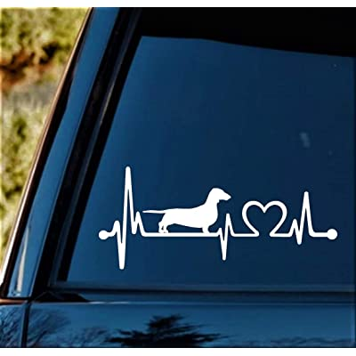 K1025 Dachshund Heartbeat Lifeline Monitor Dog Decal Sticker: Automotive