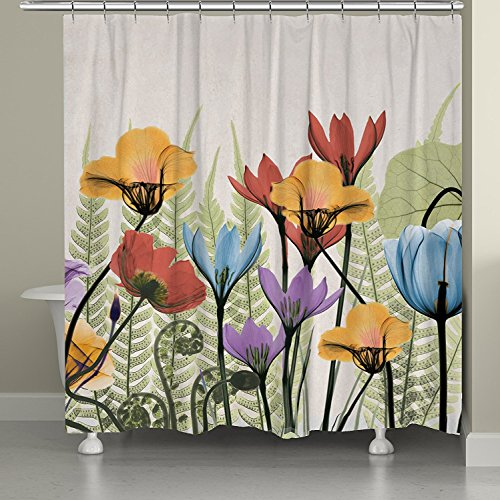 YEHO Art Painting Flowers and Ferns Shower Curtain 100% W...
