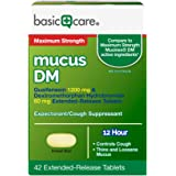 Amazon Basic Care Maximum Strength Mucus DM, Expectorant and Cough Suppressant Extended-Release Tablets, 42 Count