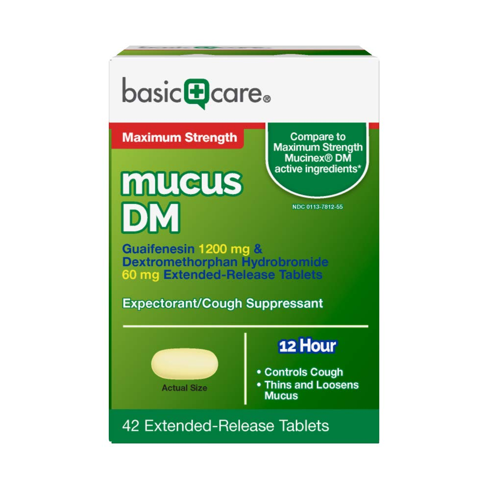 Basic Care Maximum Strength Mucus DM, Guaifenesin 1200 mg & Dextromethorphan Hydrobromide 60 mg Extended-Release Tablets, 42 Count by Basic Care