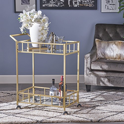 Christopher Knight Home 304468 Louise Indoor Industrial Modern Iron and Glass Bar Cart, Gold,