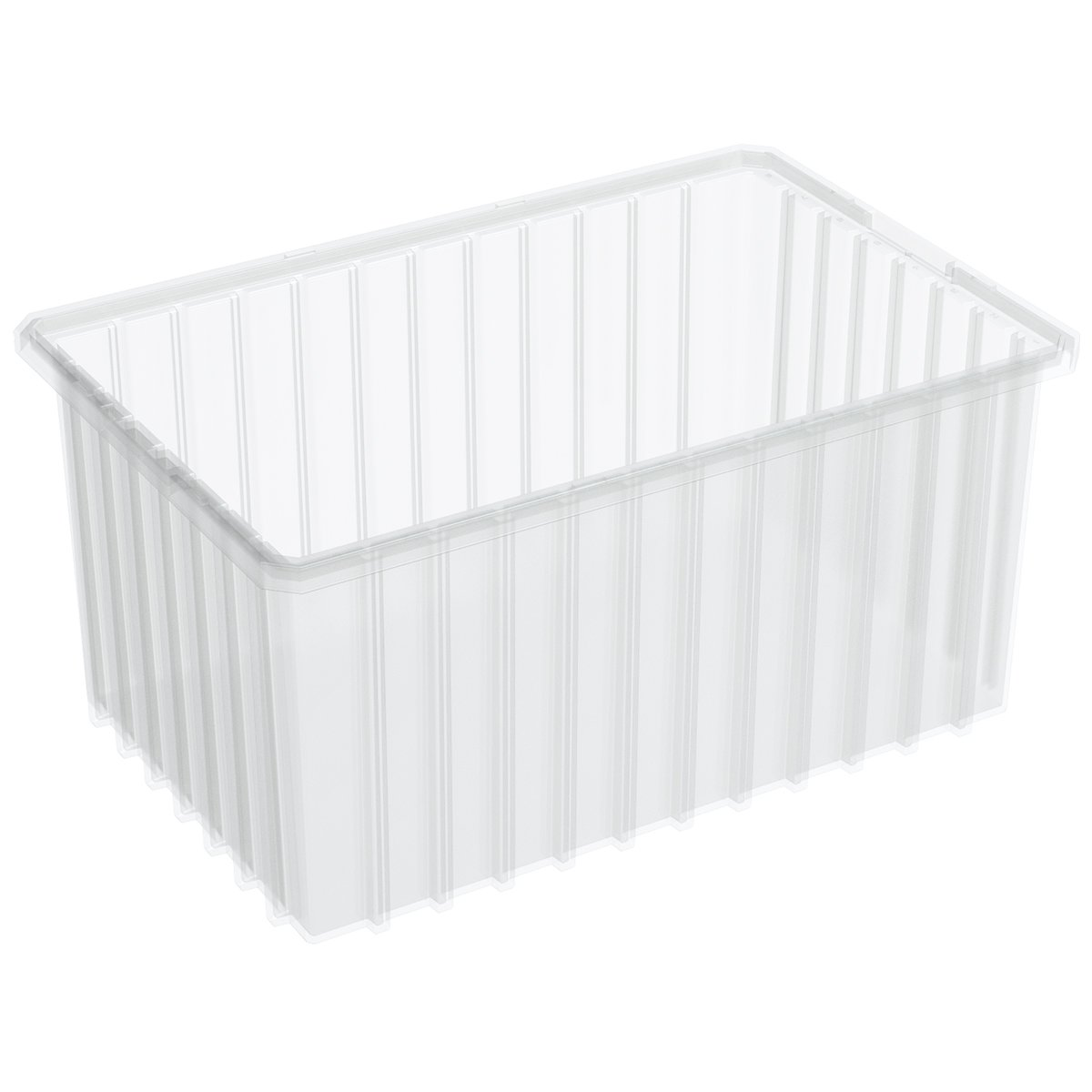 Akro-Mils 33168 16-1/2-InchL by 10-7/8-Inch W by 8-Inch H Akro-Grid Slotted Divider Plastic Tote Box, Clear, 6-Pack
