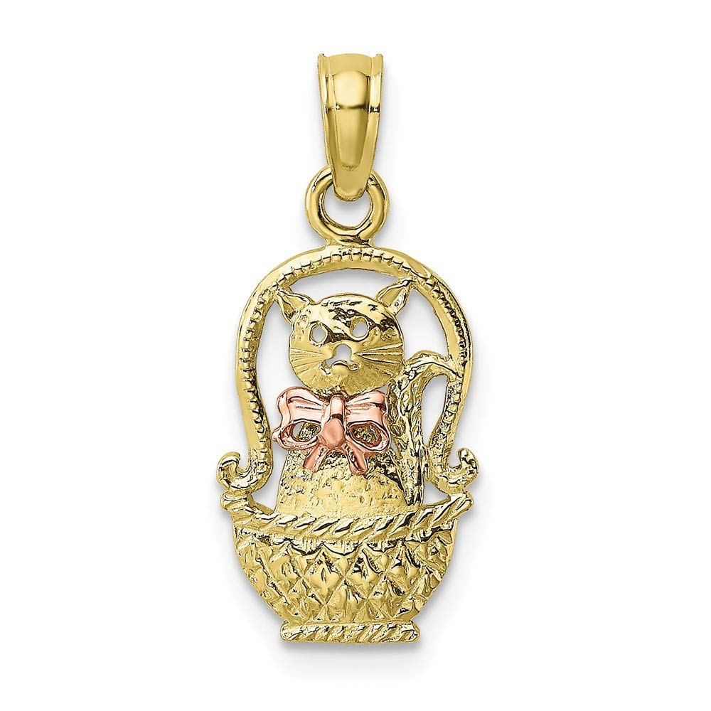 FB Jewels 10K Rose and Yellow Two Tone Gold Cat In Basket with Rose Bow Tie Pendant