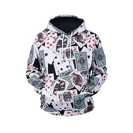 Sudaderas Hombre/Mujer Sudaderas 3D Imprimir Patrón de Poker Creativo Sudaderas con Capucha Sudaderas Finas