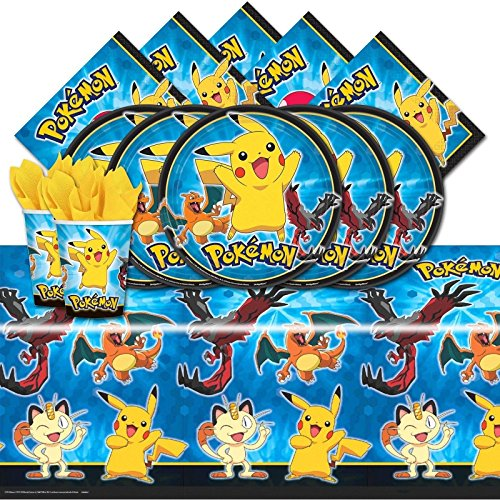 Pokemon Pikachu & Friends Birthday Party Tableware Pack for 16 (Pokemon Party Decorations)
