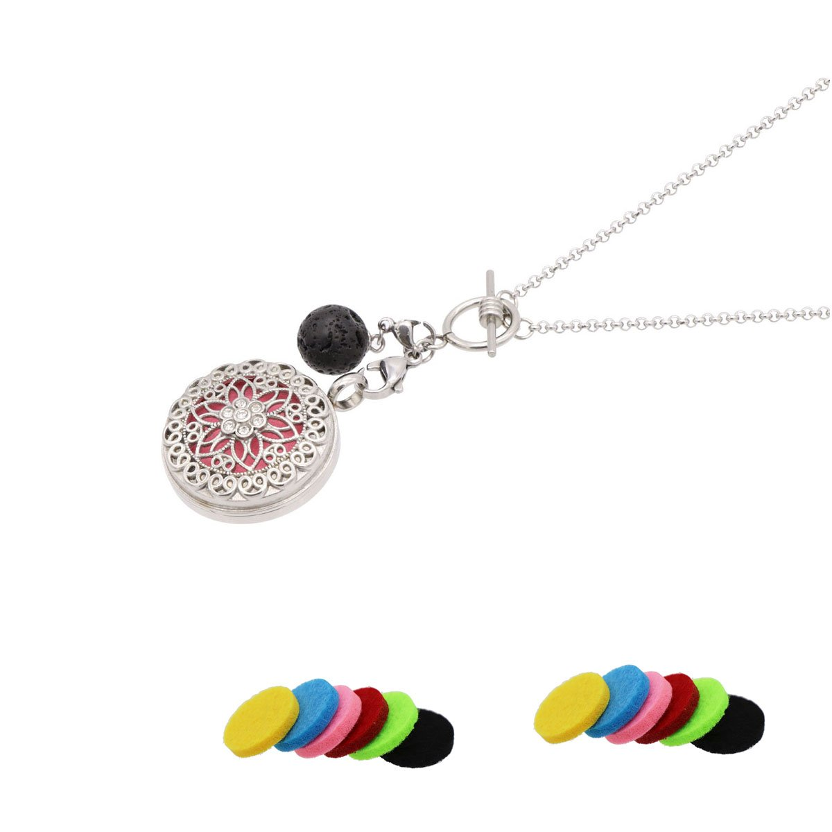 Aromatherapy Essential Oil Diffuser Necklace with Lava Ball Pendant Jewelry Gift for Her-Silver by NewStar (Image #1)