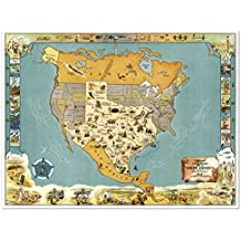 """A Texan's View of Texas MAP of the USA circa 1948 - measures 32"""" wide x 24"""" high (813mm wide x 610mm high)"""