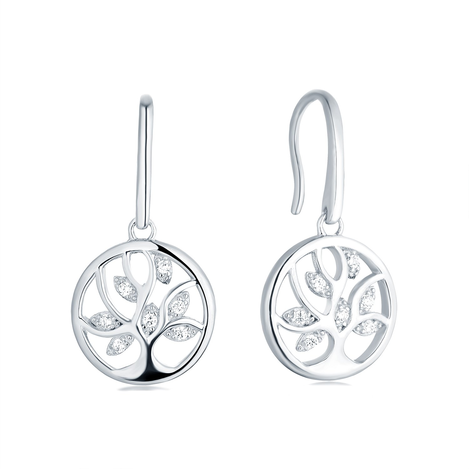 Tree Earrings 925 Sterling Silver Cubic Zirconia Family Tree of Life Hook Dangle & Drop Earrings