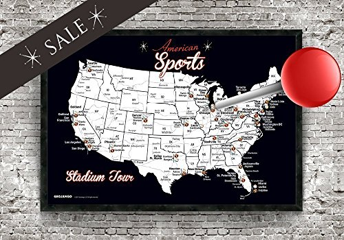 Baseball Large Framed Print (Major League Football and Baseball Stadium Tour Map (Small Edition) Framed Push Pin Map - 24x18 inch map plus 1.25