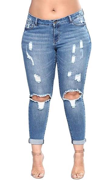 Targogo Pantalones Vaqueros Moda Mujer Ripped Skinny ...