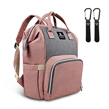 Hafmall Nappy Changing Bag Waterproof Diaper Backpack with Buggy Clips and...