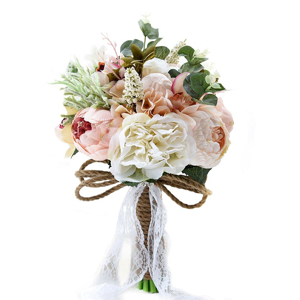 USIX Handmade Vintage Silk Flowers Peony Rose Bridal Holding Wedding Bouquet, Lace and Natural Hemp Rope Decorated Bouquet, Wedding Flower Arrangements Bridesmaid Bouquet