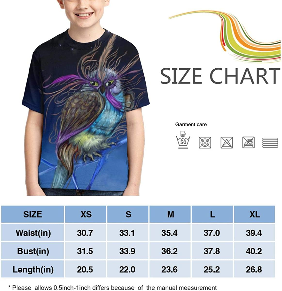 Summer Tops for Boys Owl Night Full Printed Short Sleeve Crew Neck Tees Youth T-Shirts