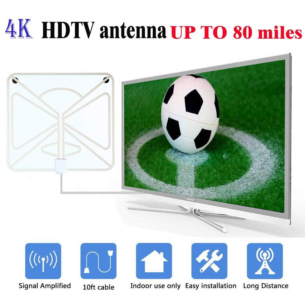 TV Antenna Digital Set Large Panel Transparent HD Digital Indoor TV Antenna HDTV+ Pattern Plate with Lamp Amplifier + TV Adapter
