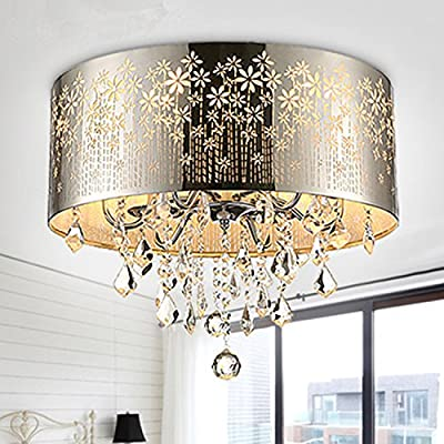 LightInTheBox Modern Flush Mount Light Crystal Chrome Color Hollow Carving Fashion Chandelier Ceiling Light Lighting Fixture for Bedroom/Living Room/Dining Room Bulb Not Included Voltage=110V-220V