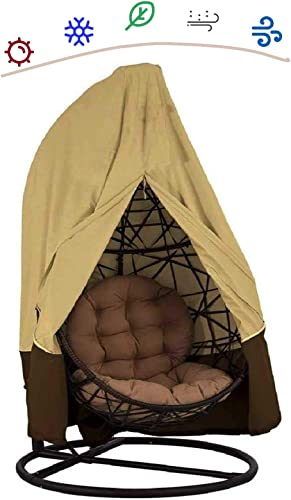 skyfiree Patio Hanging Egg Chair Cover with Zipper Double 91X80 inches Waterproof Swing Egg Chair with Stand Cover Outdoor Pod Chair Swingasan Cover Garden Wicker Cover Beige Coffee