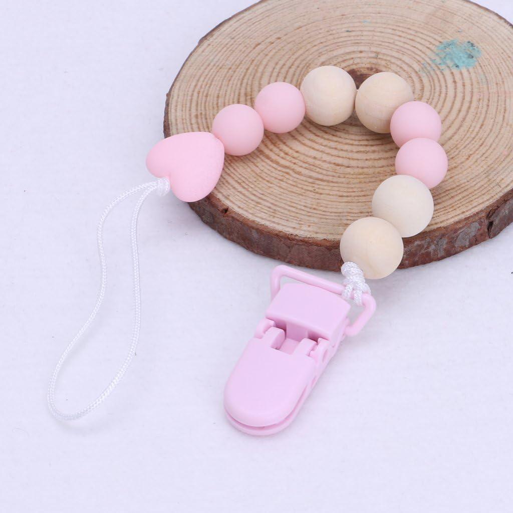 MIsha Cadena chupetes Clip de plastico Cadena de cuentas de madera pl/ástica Cadena chupetes para bebe ni/ño(Amarillo)