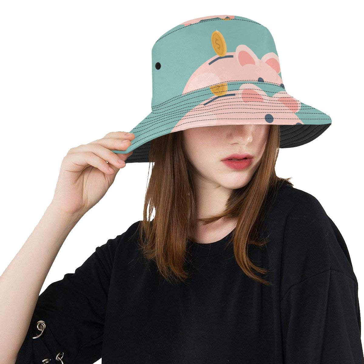 Women and Men with Customize Top Packable Fisherman Cap for Outdoor Travel Teens Pink Pig Piggy Bank Money New Summer Unisex Cotton Fashion Fishing Sun Bucket Hats for Kid