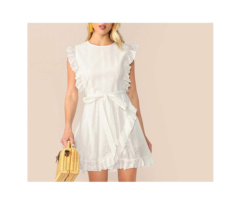 White Lost Stars Ruffle Trim Mini White Dress Women Boho Casual Cotton Sleeveless Round Neck Solid Summer Dress