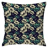 Decorative Throw Pillows Covers with Insert,Pattern with Blooming Wild Flowers and Dragonflies Romantic