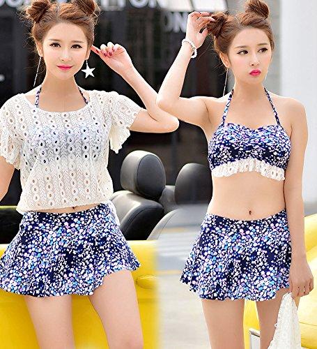 Minetom Mujer Traje De Baño Push Up Bañador Bikinis Beachwear Playa De La Natación Del Verano Swimwear 3Pcs Tankinis Folk Personalizado Halter Flores1