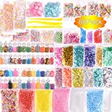Slime Supplies Kit, 88 Pack Slime Beads Charms Include Floam Beads, Fishbowl Beads, Glitter Jars, Fruit Slices, Rainbow Pearl, Colorful Sugar Paper Accessories, Slime Tools for Slime Making DIY Craft