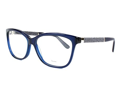 40af2ee3749 Amazon.com  Jimmy Choo Plastic Rectangular Eyeglasses 55 0FA7 Blue Opal   Shoes