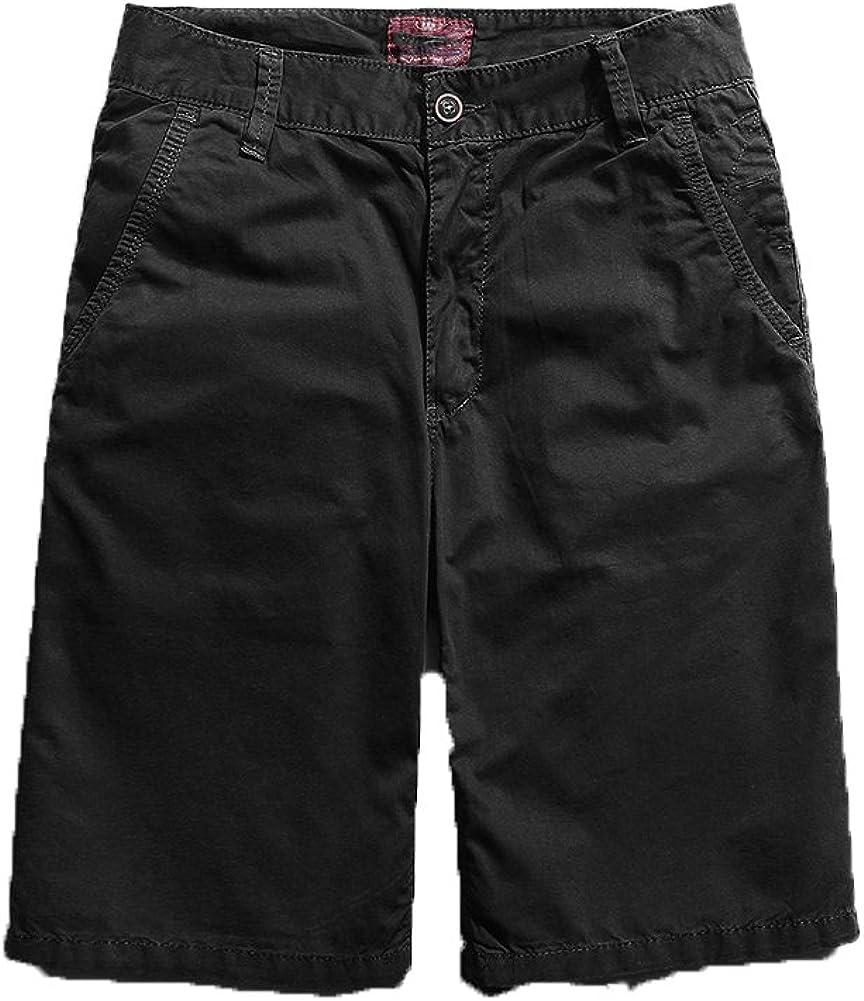 Bmeigo Mens Cotton Premium Twill Classic Flat Front Shorts G06