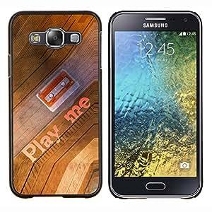 EJOOY---Cubierta de la caja de protección para la piel dura ** Samsung Galaxy E5 E500 ** --Play Me Cita cinta de casete 90S Arte Música