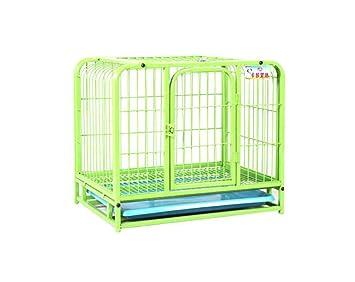 ZSSHJ Jaulas para perros, Perros pequeños Perrera Jaula de hierro Perro de peluche Jaula para mascotas Techo solar con ruedas 60 * 40 * 55cm (Color ...
