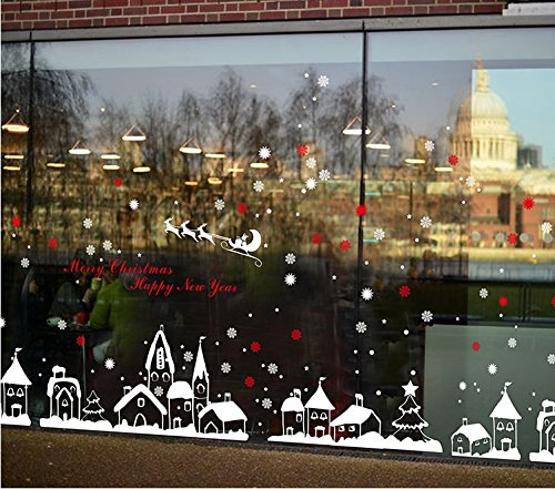 Window Scenes For Christmas - Do4U Christmas Decoration Wall Decals Door Window Stickers Glass Decal Window Stickers Home Decor (Color Town)